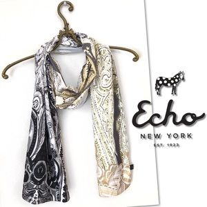 🆕 ECHO OBLONG GOLD BLACK WRAP SCARF